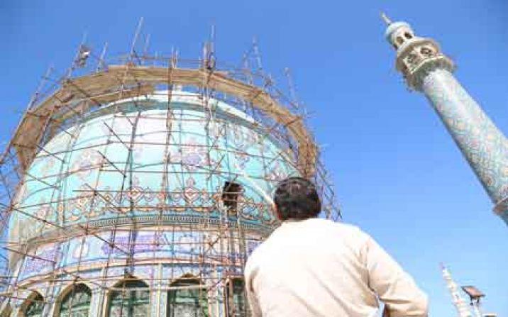 گنبد مسجد مقدس جمکران ترمیم و مرمت شد